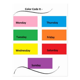Código de color él días visuales de los postal