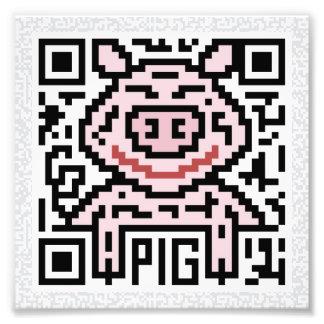 Código de QR el cerdo Impresión Fotográfica