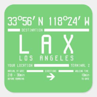 Código del aeropuerto de Los Ángeles Pegatina Cuadrada