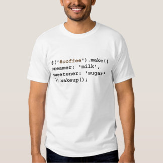 Código rubio y dulce del café del Javascript Camisas