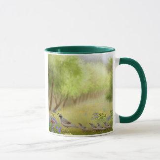Codornices en una taza del campanero del prado