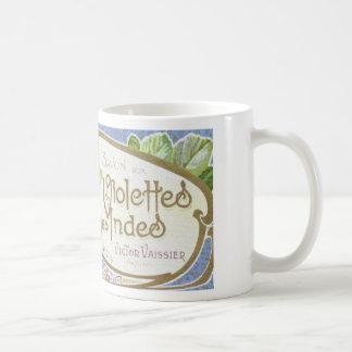 """~Coffee o té de la etiqueta del DES """"Violette Taza Básica Blanca"""