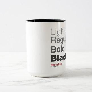 coffeeprogressionhelvetica taza de café
