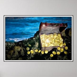 Cofre del tesoro del oro en las rocas póster