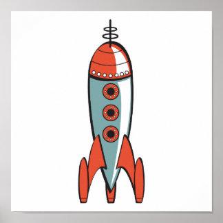 cohete de espacio retro póster