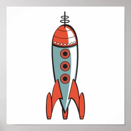 cohete de espacio retro poster