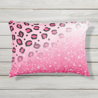 Cojín De Exterior Decoración rosada brillante del estampado leopardo