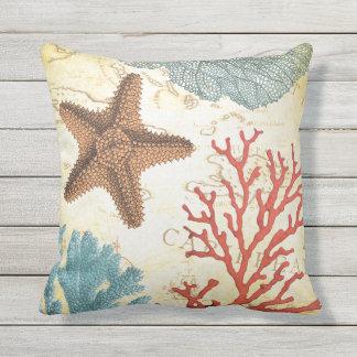 Cojín De Exterior Estrellas de mar y coral del Caribe coloridos