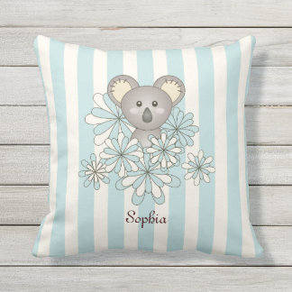 Cojín De Exterior La koala animal linda del bebé embroma el azul en