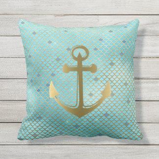 Cojín De Exterior La sirena náutica del ancla del oro verde azulado