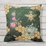 Cojín De Exterior Moda francesa, victorian, abeja, floral, efecto