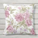 Cojín De Exterior Modelo púrpura floral romántico de los rosas del