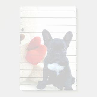 Cojín de las notas de post-it del dogo francés de