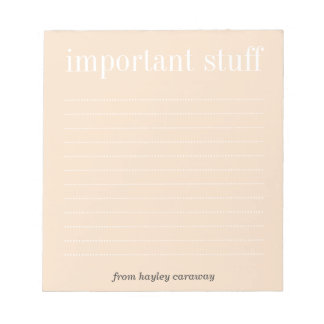 Cojín de nota alineado rosa polvoriento importante libretas para notas