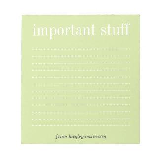 Cojín de nota alineado verde importante del té de  libretas para notas
