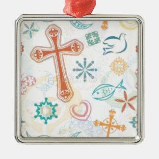 Cojín de ratón cristiano del pegatina de la cadena adorno navideño cuadrado de metal