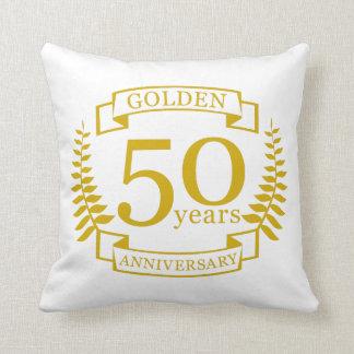Cojín Decorativo 50 años de oro DE ORO de aniversario de boda 50