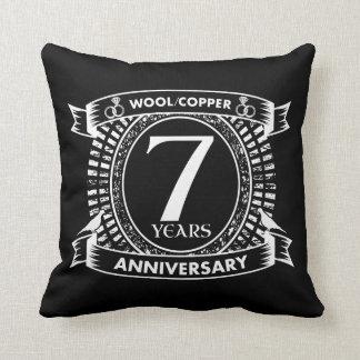 Cojín Decorativo 7mo cobre de las lanas del aniversario de boda