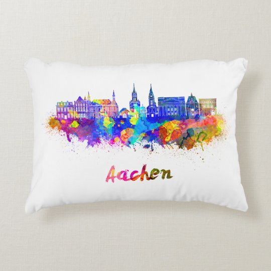 Cojín Decorativo Aachen skyline in watercolor