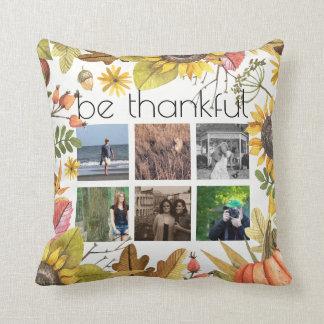 Cojín Decorativo Acción de gracias agradecida del otoño del collage