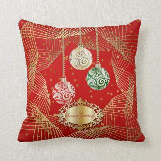 Cojín Decorativo Acentos de color rojo oscuro y de Swirly del oro