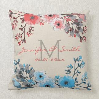 Cojín Decorativo Acuarela #16 que se casa floral del vintage