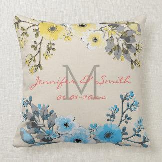 Cojín Decorativo Acuarela #17 que se casa floral del vintage