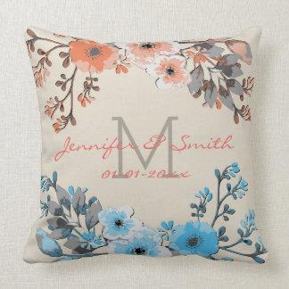Cojín Decorativo Acuarela #18 que se casa floral del vintage