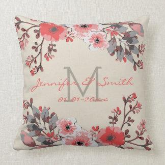 Cojín Decorativo Acuarela #22 que se casa floral del vintage