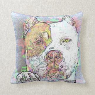Cojín Decorativo Acuarela de la raza del hoyo del perro de Terrier