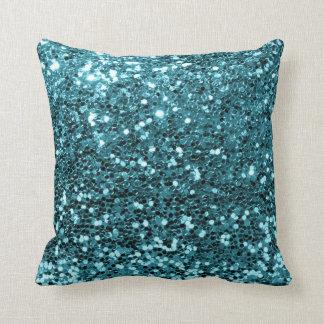Cojín Decorativo Acuático verde azulado azul de la lentejuela de la