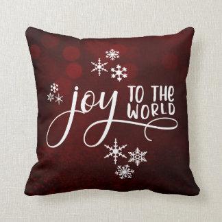 Cojín Decorativo Alegría a la tipografía y a los copos de nieve del