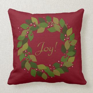 Cojín Decorativo ¡Alegría! guirnalda roja rústica del navidad del |