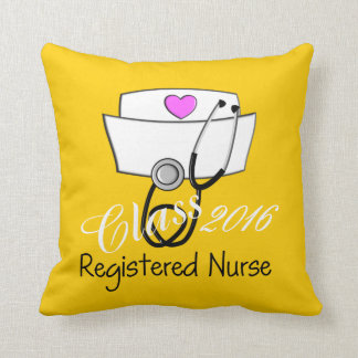 Cojín Decorativo Amarillo 2016 de la graduación de la enfermera