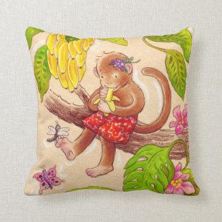 Cojín Decorativo Amigos de la selva del mono y de la libélula