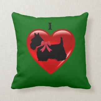 Cojín Decorativo Amo a los escoceses Terrier, verde rojo de la isla