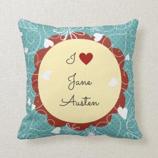 Cojín Decorativo Amo el modelo verde de Jane Austen