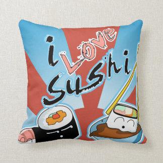 Cojín Decorativo Amo el sushi del dibujo animado del sushi