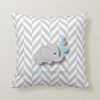 Cojín Decorativo Amo los elefantes - azules cielos