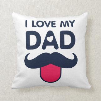 Cojín Decorativo Amo mi icono lindo del bigote del papá