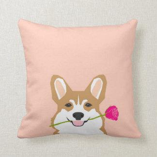 Cojín Decorativo Amor del Corgi con color de rosa rosado para el