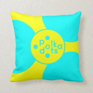 Cojín Decorativo Amortiguador amarillo del lunar de la turquesa y