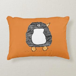 Cojín Decorativo Amortiguador anaranjado del purpurina del pingüino