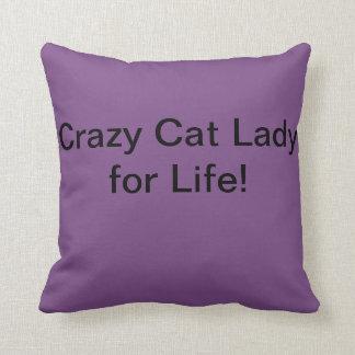 Cojín Decorativo Amortiguador loco de la señora del gato