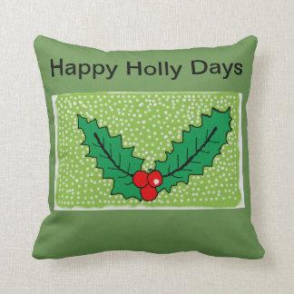 Cojín Decorativo Amortiguador verde del acebo del navidad