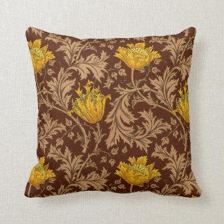 Cojín Decorativo Anémona de William Morris, Brown y oro de la