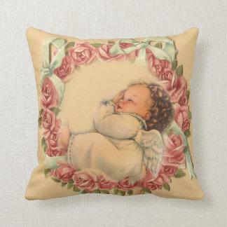 Cojín Decorativo Ángel del bebé que duerme en la guirnalda color de