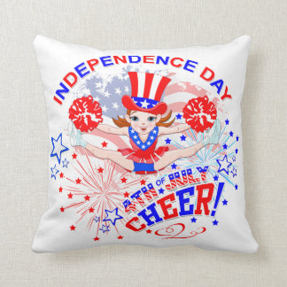 Cojín Decorativo Animadora, Día de la Independencia, el 4 de julio,