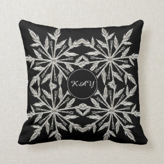 Cojín Decorativo Árbol blanco y negro del cristal de hielo -