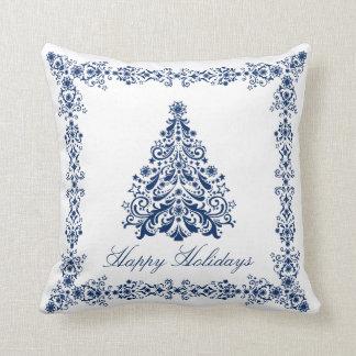 Cojín Decorativo Árbol de navidad azul su fondo y texto